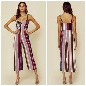 NWT Flynn Skye Striped Vacation Front Tie Jumpsuit